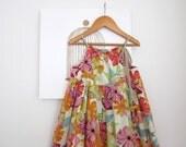 Girls Summer Dress-Flowers and Birds-linen/cotton baby toddler dress-orange pink green-sundress-Handmade Children Clothing by Chasing Mini