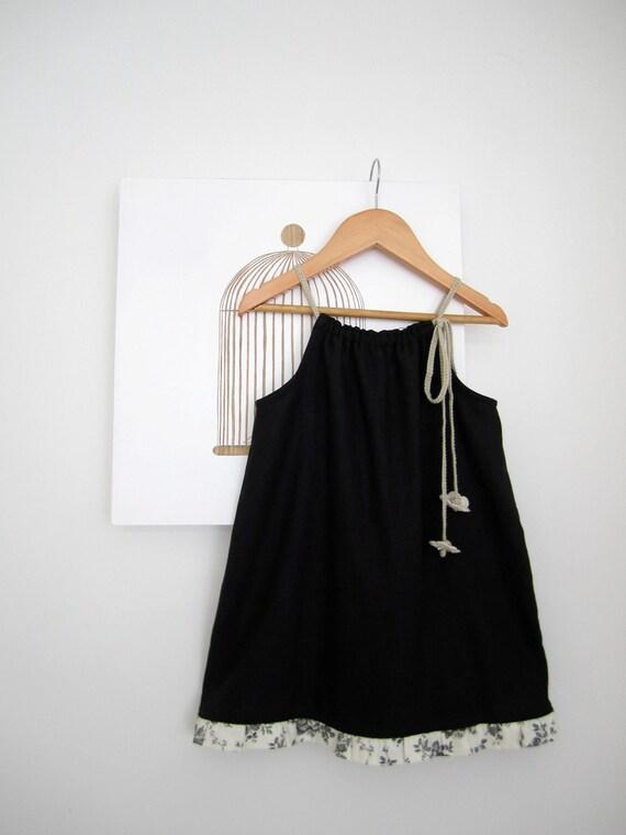Last One 30% off- Girls Dress-Black Linen-Roses Ruffle-toddler dress--Handmade Children Clothing by Chasing Mini-size 2-3yrs.