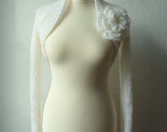 "Bolero, shrug, wedding ""Mohair"" in white"