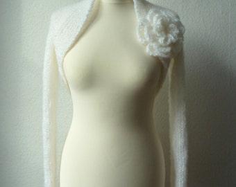 """Bolero, shrug, wedding """"Mohair"""" in white"""