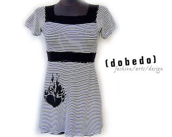 Dress BURNING HEART GR 36 Empire of lace black/white stripes
