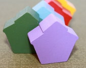 Handmade Wood Red, Yellow, Green, Blue, and Purple Matching/Sorting Montessori School House Shapes
