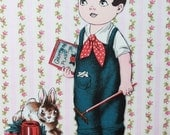 Fabric Paper Doll Boy with Dark Hair and Teddy Bear