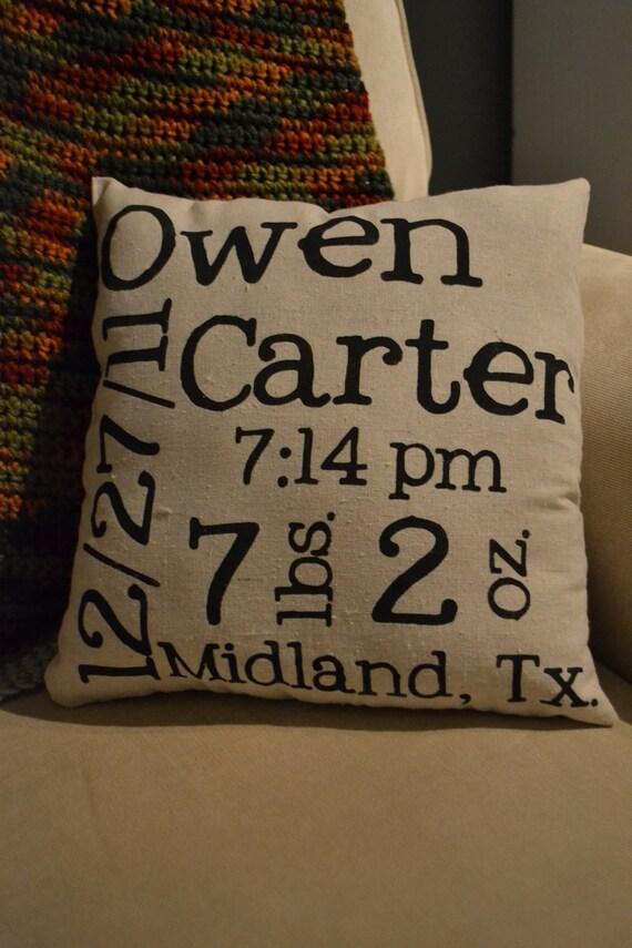 Custom Baby Announcement Pillow