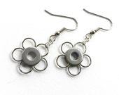 Small Silver Flower Earrings, Flower Dangles, Silver Earrings, Silver Flower Jewelry, Stainless Steel Flower