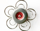 Silver and Coral Metal Flower Magnet, Small Metal Magnet, Silver Flower, Orange Flower, Metal Magnet, Metal Flower, Flower Magnets