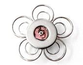 Light Pink Flower Magnet, Metal Flower Magnet, Pink Magnet, Stainless Steel Magnet, Unique Magnets