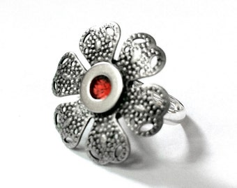 Adjustable Silver Flower Ring, Womans Silver Ring, Orange Ring, Silver Filigree Jewelry, Orange Flower Ring, Adjustable Ring,