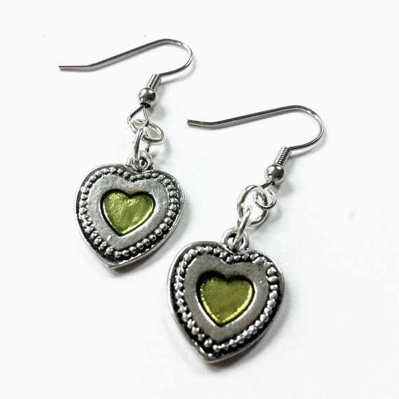 Green Heart Earrings, Heart Dangle Earrings, Silver earrings, silver heart, green dangle, green earrings