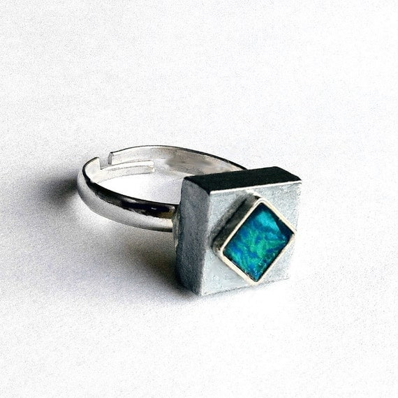 Adjustable Silver Ring, Womens Teal Ring, Industrial Ring, Blue Ring, Silver Square Ring, Adjustable Womens Ring