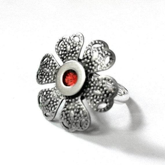 Adjustable Silver Flower Ring, Womans Silver Ring, Orange Ring, Silver Filigree Jewelry, Orange Flower Ring, Adjustable Ring,