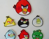 Set 7 Pcs Embroidered Iron/Sew on patches Angry Birds Appliques