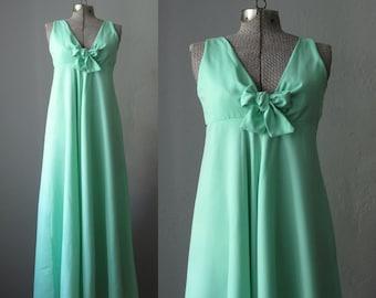 1960s Vintage Dress Maxi Dress 60s Bridesmaid Dress Seafoam Green / Small XS