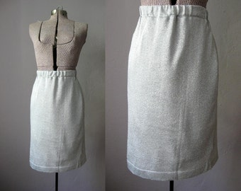 1960s Silver Skirt Vintage Pencil Skirt Metallic Lurex / Medium