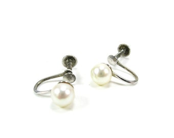 Cultured Pearl Earrings Sterling Silver Mid Century
