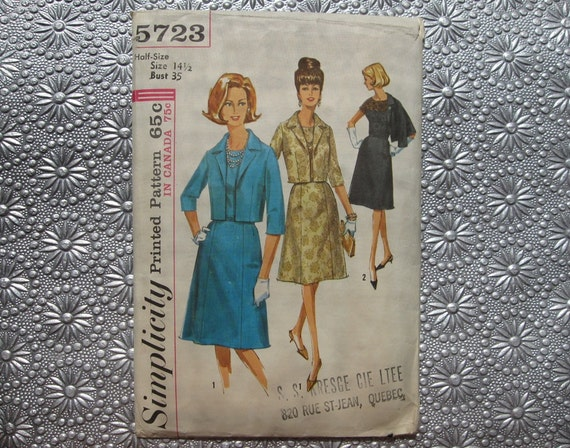 1964 Cocktail Dress Pattern / 60s Sewing Pattern Simplicity 5723 / Dress and Jacket Lace Option / Size 14.5 Bust 35