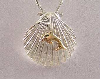 14k Gold Dolphin on Sterling Silver Shell Necklace