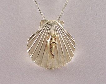 14k Gold Manatee on Sterling Silver Shell Necklace
