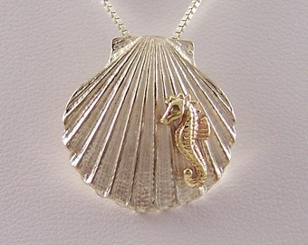 14k Gold Sea Horse on Sterling Silver Shell Necklace