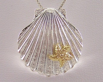 14k Gold Star Fish on Sterling Silver Shell Necklace