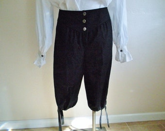 Mens,  Black Cotton Twill Renaissance, Pirate Style Knee Length Pants. Can be made to Order.