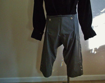 Men's Grey Cotton Pirate, Colonial style Pants,Knee Length Flap Front with button knee detail . Custom Orders Available.