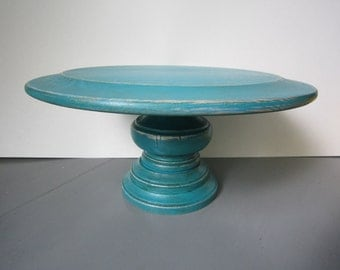 "Round Pedestal Wood Cake Plate  - 12"""
