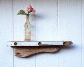 nautical/beach shelf - off-white driftwood shelf with glass drops