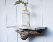 rustic beach shelf - off-white and noric blue driftwood shelf