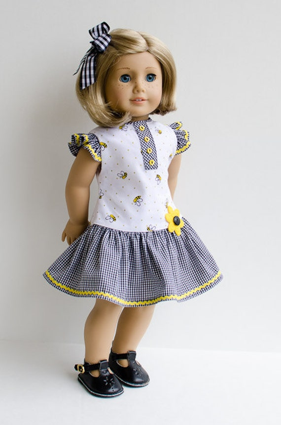 Dress and Hair Ribbon for Kit, Ruthie, Molly, Emily/American Girl Doll Clothes