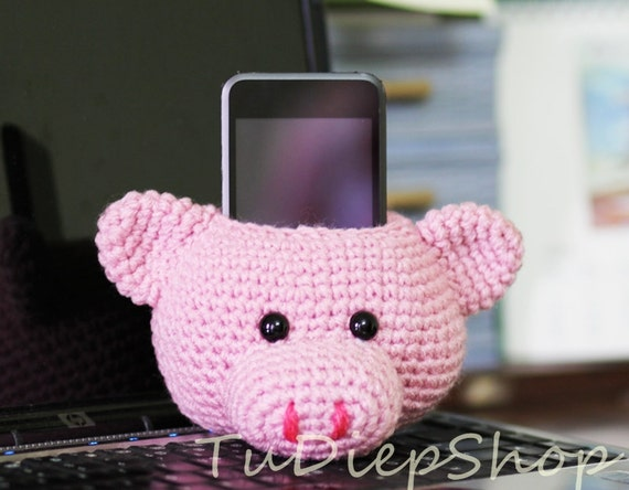 Cell phone stand holder plush - Pink Piggy - PDF pattern