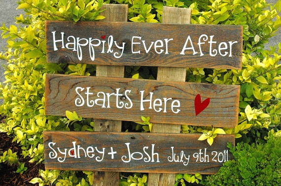 CUSTOM  Large Wedding Sign -3 rows of wood -you choose the words ALL PAINTED
