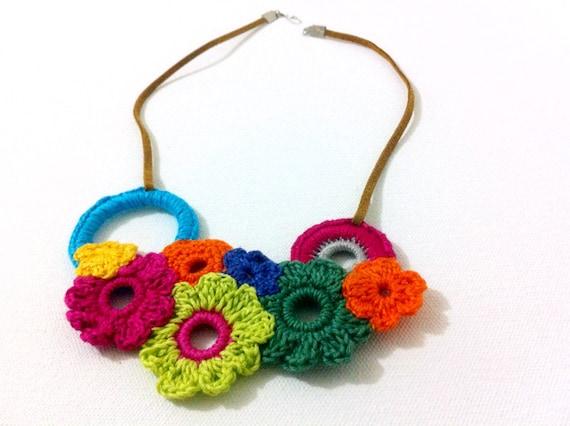 Colorful Flowers Crochet Necklace