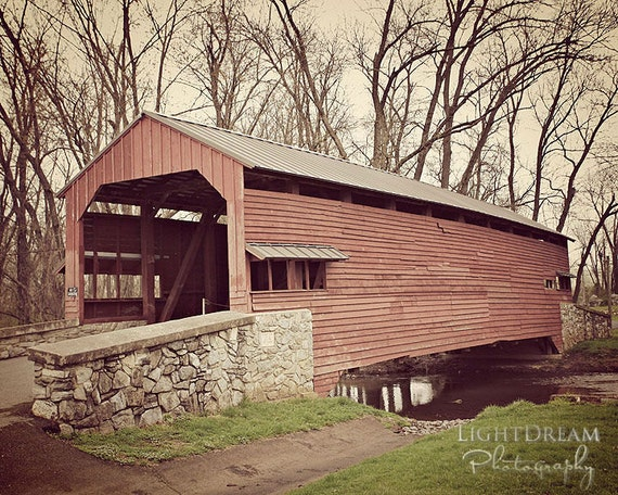 Covered Bridge In Steel Sky - Covered Bridge Photography - Covered Bridge Wall Art - Landscape Photography - Classic Home Décor - Nature Art