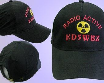 HAM  RADIO Hat  -  Custom EMBROIDERED in CrushProof Box with radio active and callsign  H1R