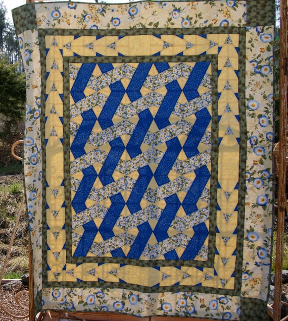"blue and yellow morning glory quilt, 54""x66"", perfect lap quilt, throw"