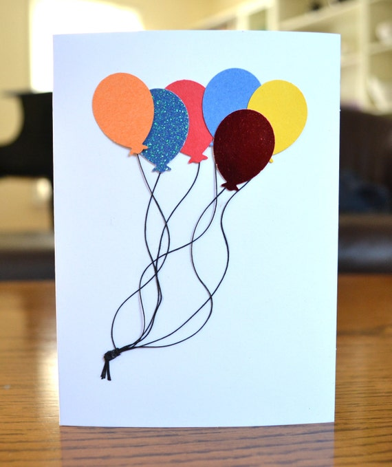 sweet  simple happy birthday card with balloons