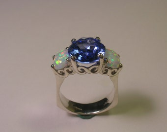 Aquamarine Opal Sterling Ring
