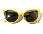 Reserved for Kirstin Gralnick - Cat Eye Sunglasses Yellow High Fashion Vintage 50s Retro Frames with Rhinestones