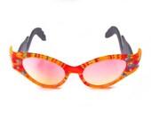 Crazy 80s Rainbow Cat Eye Sunglasses Vintage New Wave Retro Flamingo Frames