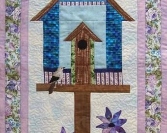 Debbie Mumm Purple Birdhouse Wallhanging