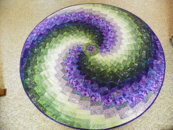 Purple and green table topper named Vernal Equinox