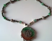 Tibetan jade and silver pendant on nacklace