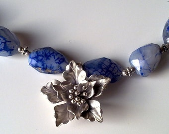 SILVER ORCHID on blue agate necklace