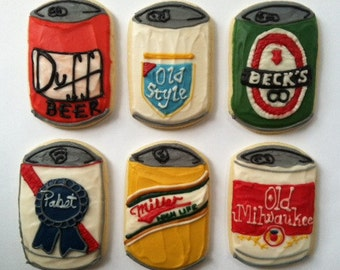 Six Pack of Beer / Perfect Fathers Day Gift / Mothers Day/ Hipster Beer Sugar Cookies with Buttercream Frosting