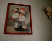 vintage floral print in red frame