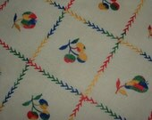 3 Pc. Vintage table runners with embroidered fruit and flowers - Cherries, Pears, Apples