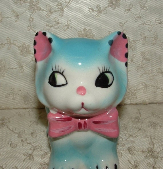 Adorable Vintage Kitty Planter - Handpainted - Japan