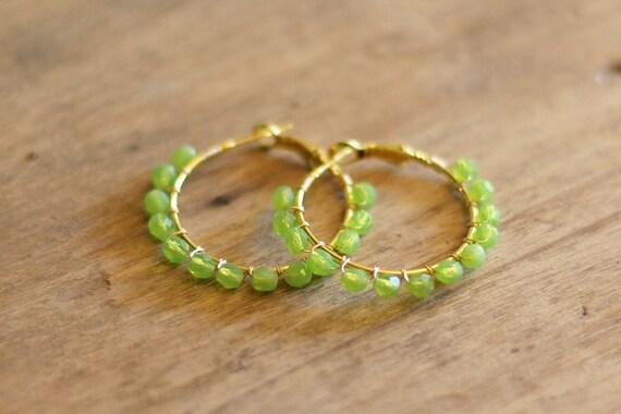 Green Apple Beaded Hoop Earrings