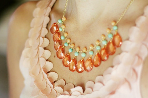 Mint and Coral Bib Necklace